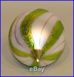 1991 Christopher Radko Glass Ornament Villandry Green Swirl Teardrop 91-087-0