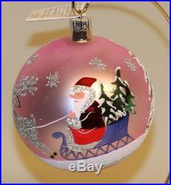 1992 Radko Glass Christmas Ornament Siberian Sleighride Ball Pink 86-110-1