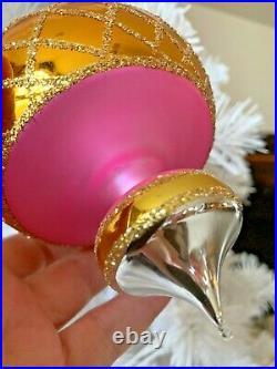 1993 RADKO JUMBO SPIN TOP 93-302-0 Ornament Ball Drop 6 Pink n Gold