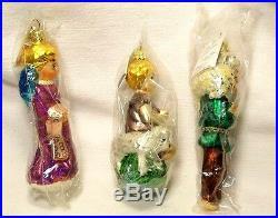 1996 Box of 3 Vintage Radko Shepherd's Prayer Glass Christmas Ornaments POLAND
