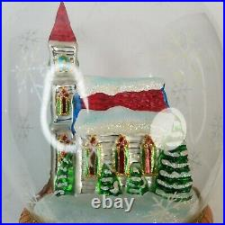 2002 Christopher Radko Glass Ornament Pine Valley Prayers Church Clear Globe