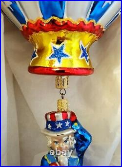2002 Radko Glory Abounds Uncle Sam Hot Air Balloon 02-0481-0 Patriotic Ornament