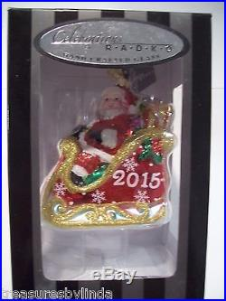 2015 CHRISTOPHER RADKO SANTA IN SLEIGH CHRISTMAS TREE ORNAMENT 5 GLASS DATED