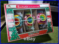 3 CHRISTOPHER RADKO Large FANTASIA Ornaments with Box Blossom Brites Christmas