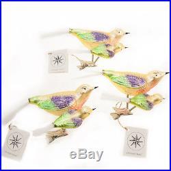 3 Christopher Radko Rare Glass Christmas Clip-On Ornaments Bird Pair Mom, Baby