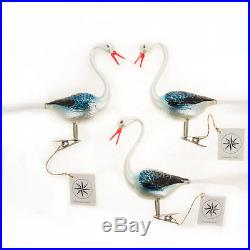 3 Christopher Radko Rare Hand-Painted Clip-On Christmas Ornaments Storks Birds