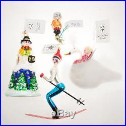 4 Christopher Radko Christmas Ornaments Rare Glass Skier, Snow Bell, Swan Song