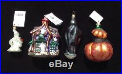4 Christopher Radko Halloween Ornaments Howl Manor Scrooge Puss-N-Boo
