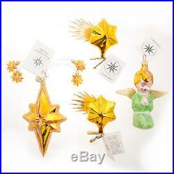 4 Christopher Radko Rare Christmas Ornament Angel, Clip-On Stars, Sparkle Plenty
