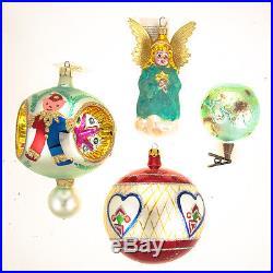 4 Christopher Radko Rare Christmas Ornament Hand Painted Glass Angel, Toy, Globe
