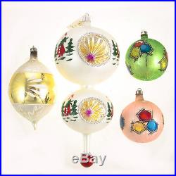 4 Christopher Radko Rare Christmas Ornaments Hand Painted Double Reflector