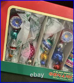 6 RADKO Shiny Brite Icicle Garland Retro Vintage Glass Beads Christmas Ornaments
