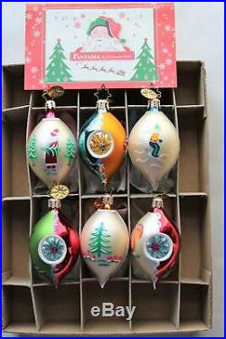 6 Vintage Christopher Radko Fantasia Glass Christmas Ornaments Deep Indents