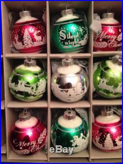 9 Vintage American1940's CHRISTOPHER RADKO Christmas Flock Ornaments Shiny Brite
