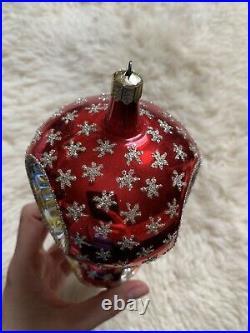 Beautiful Christopher Radko Glass Reflector Ball Christmas Ornament