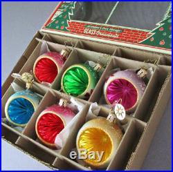 Box 6 Blown Glass ORNAMENTS Indent Reflectors HP Flowers Glitter RADKO FANTASIA