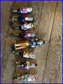 CHRISTOPHER RADKO Disney 1995 And Snowy Makes Eight SNOW WHITE 7 DWARFS Ornament