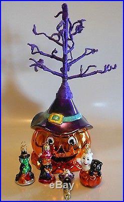CHRISTOPHER RADKO HALLOWEEN JACK O LANTERN TREE With ORNAMENTS GLASS DECORATION