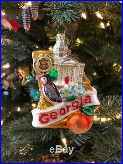CHRISTOPHER RADKO State of Georgia glass ornament