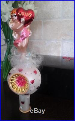 CUPID'S LOVE FINIAL Christopher Radko Valentine's Day Pink Heart Ornament Topper