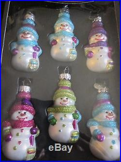 Celebrations by Christopher Radko set of 6 Snowmen Ornaments NEW