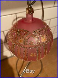 Christopher Radko 1989 89-044-0 Tiffany Ornament Retired Pink Flowers Ball # 292