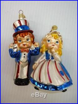 Christopher Radko 4th of July Independence Day Boy & Girl Ornaments HTF (o1327)