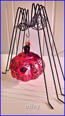 Christopher Radko ALL HALLOWS GLOW WithSPIDER HANGER Pumpkin Halloween Ornament