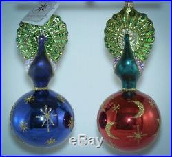 Christopher Radko Ball Christmas Ornament TWO CELESTIAL PEACOCKS PURPLE & GREEN