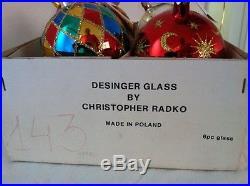 Christopher Radko Box of 6 Rare Vintage ornaments