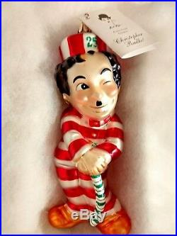 Christopher Radko CANDY CANE CHAPLIN Ornament Tag 1999 Little Tramp BOXED