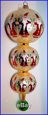 Christopher Radko CIRCLE OF SANTAS TRIO Vintage Drop Finial Ornament RARE