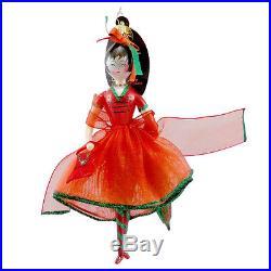 Christopher Radko CRIMSON STROLLER Blown Glass Ornament Italian Christmas Girl