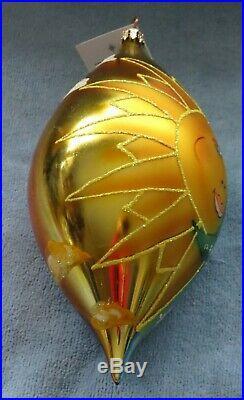 Christopher Radko Celestial Ornament Rare 2001 Sun & Moon Teardrop, Day Into N