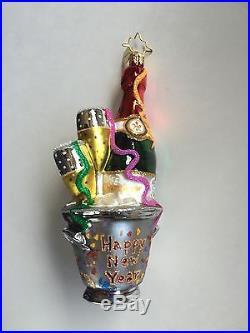 Christopher Radko Champagne Bucket New Years 2103 Glass Christmas Tree Ornament
