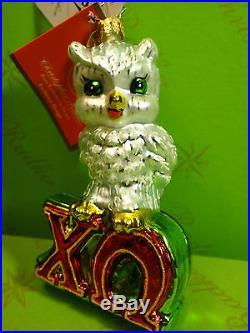 Christopher Radko Chi Omega Owl Fraternity Glass Ornament