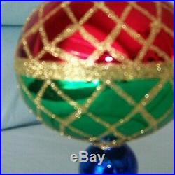 Christopher Radko Christmas Harlequin 1994 Drop Ball Christmas Ornament