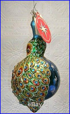 Christopher Radko Christmas Ornament 20th Anniversary Peacock In Living Color