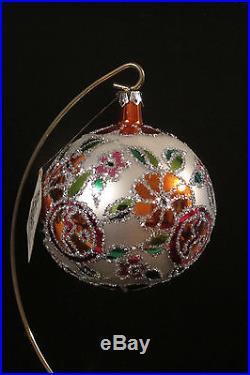 Christopher Radko Deco Floral Ball Christmas Ornament, New, RARE, 1987