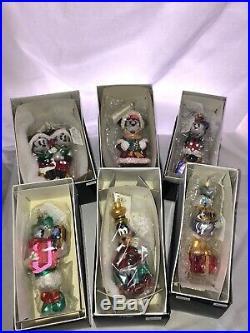 Christopher Radko Disney Ornament Lot Mickey & Minnie & Goofy & Daffy & Donald