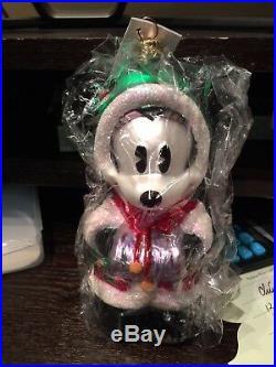 Christopher Radko Disney Ornaments Mistletoe Mickey & Holly Minnie Rare 1997 NIB