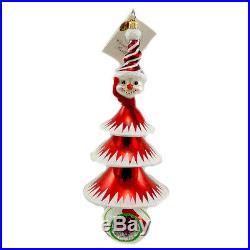 Christopher Radko FROSTY TREE TRIM Blown Glass Ornament Christmas Snowman