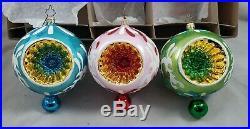 Christopher Radko Fantasia Cool N Brite Set of 3 glass ornaments Poland 1013049