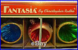 Christopher Radko Fantasia Grandmas Own Vintage Glass Ornaments Poland Bx Set 6