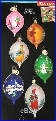 Christopher Radko Fantasia St. Moritz #01-1090-0, Boxed Set 6 Ornaments New
