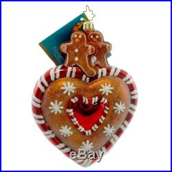 Christopher Radko GINGER STREET SWEET Blown Glass Ornament Heart Gingerbread