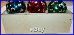 Christopher Radko Glass Christmas Ornament 1987 CELESTIAL Set of 3 Balls w Box
