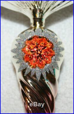 Christopher Radko Glass Christmas Ornament German ROSE PETAL FIRE Reflector