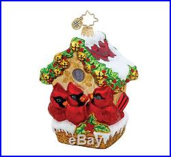 Christopher Radko Glass Ornament Cardnial Bird Jingle Bell Hideway NEW #1015463
