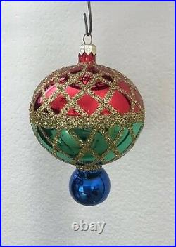 Christopher Radko Gold Glitter Green and Red Harlequin Glass Ball Drop Ornament